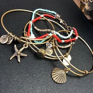 Set of 4 Alex and Ani and Misc. beaded bracelet